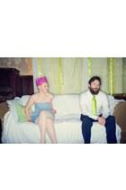 sky blue chambray dress H&M dress - peach American Apparel tights - chartreuse M