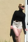Black-gap-shirt-beige-american-apparel-shorts-dark-green-forever21-sunglasse