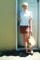 white diy Nordstrom shirt - burnt orange H&M skirt - black Cooperative wedges