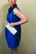 brown earrings - blue scarf - blue H&M dress - beige Gap purse - brown Cooperati