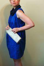 brown earrings - blue scarf - blue H&M dress - beige Gap purse - brown Cooperati