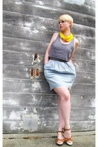 light blue chambray H&M dress - yellow scarf - heather gray diy cropped Forever2