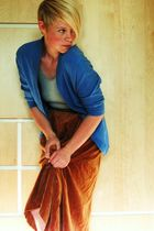 blue tresics cardigan - gray American Apparel t-shirt - brown handmade skirt