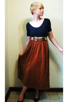 blue American Apparel top - beige belt - brown skirt - black payless shoes