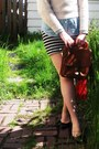 Sky-blue-jcrew-shirt-red-h-m-scarf-brown-classic-coach-bag-light-blue-fore