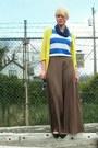 Yellow-gap-cardigan-blue-wayfarer-ray-ban-glasses-tan-forever21-skirt