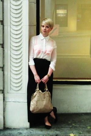 ivory sheer Forever21 shirt - beige Aldo purse - black skirt