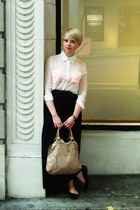 ivory sheer Forever21 shirt - beige Aldo purse - black skirt