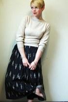 cream sweater - navy vintage skirt - light brown Chloe flats