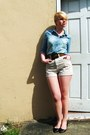 Sky-blue-heart-pocket-j-crew-shirt-off-white-high-waist-american-apparel-short