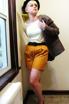black hat - yellow H&M t-shirt - brown belt - gold shorts - black payless shoes