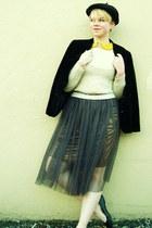 felicee skirt - American Apparel hat - sheer Lulus blouse