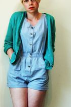 green Basics cardigan - blue dreams shorts