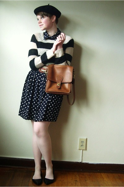 navy polka dot Forever 21 dress - black American Apparel hat - black H&M sweater