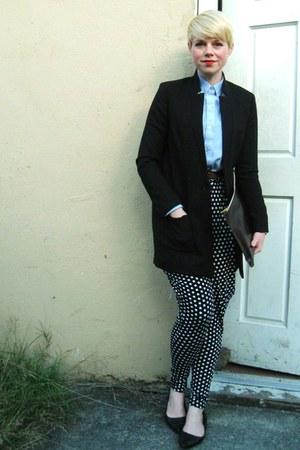 black polka dot felicee pants - black H&M coat - sky blue thrifted oxford shirt