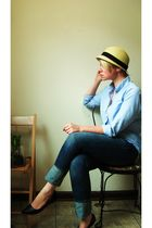 beige Forever21 hat - blue Dunloggin shirt - blue JCrew jeans - black shoes
