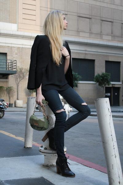 black madewell boots - black J Brand jeans - black banana republic blazer
