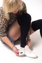 light brown H&M blouse - blue Levis shorts - black socks - white Keds shoes