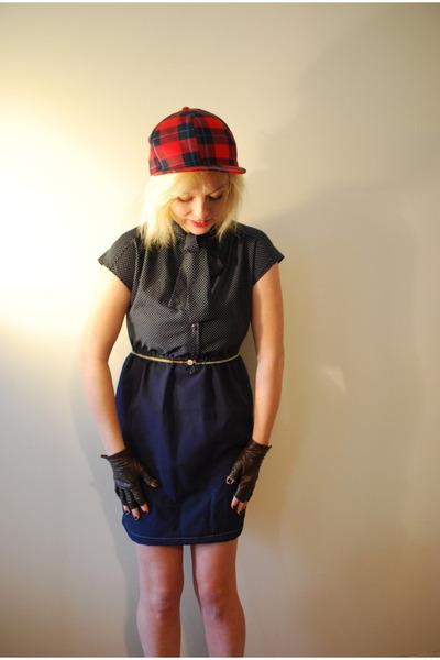 red thrifted hat - navy vintage dress - dark brown handmade gloves - white thrif