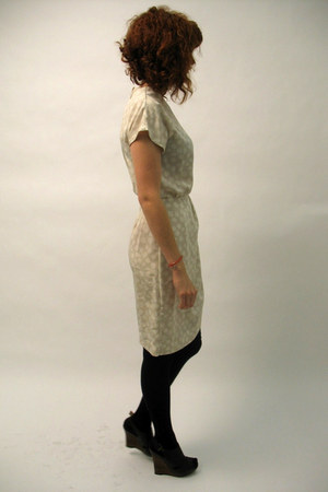 cream vintage dress - black tights - dark brown shoes