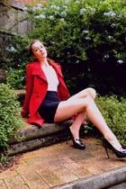 red coat Ally coat - white singlet supre shirt - black skirt supre skirt - Wittn