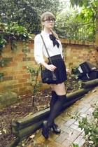 white sheer Dotti blouse - black over-the-knee Private eBay seller socks