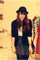 H&M shirt - bowler hat H&M hat - charity shop blazer - Primark skirt