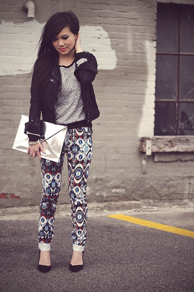 navy navajo print Zara pants - black cropped waxed Zara jacket