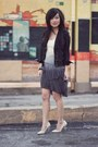 Periwinkle-dip-dyed-zara-dress-black-cropped-waxed-zara-jacket