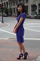 blue asos dress - black colorblock Zara heels - hot pink large Zara wallet