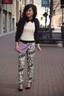 Black-silk-bomber-forever-21-jacket-light-purple-floral-print-zara-pants