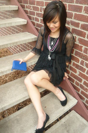 black Forever 21 dress - silver Forever 21 necklace - pink H&M necklace - blue F