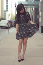 black star print asos dress - silver tj Designs necklace