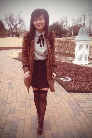dark brown asos coat - black full H&M skirt - heather gray asos blouse