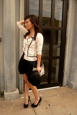 beige H&M cardigan - black H&M skirt - black Forever 21 hat - black Steve Madden