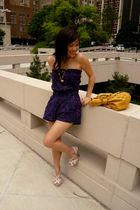 purple Forever 21 top - pink Paprika shoes - gold Forever 21 accessories - yello