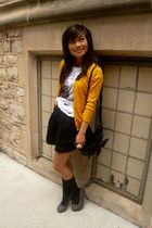yellow H&M cardigan - white Forever 21 t-shirt - black H&M skirt - black Forever