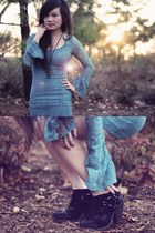 black Jeffrey Campbell boots - turquoise blue Urban Outfitters dress