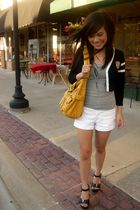 black Forever 21 cardigan - gray H&M top - white Forever 21 shorts - yellow Fore