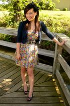 blue Forever 21 cardigan - yellow Forever 21 dress - black Forever 21 belt - bla