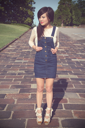 blue dungaree Forever 21 dress - cream worn as a shirt Urban Outfitters dress -