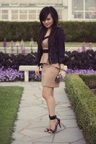 black waxed cropped Zara jacket - camel peplum contrast Forever 21 dress