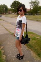 white Forever 21 shirt - black H&M purse - black Forever 21 shoes - red Forever