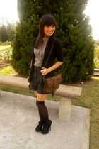 brown Forever 21 blouse - gray Forever 21 shorts - black zoo cardigan - black H&
