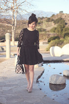 black spotted H&M dress - neutral lotze polka dot Aldo purse