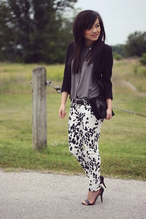 black basic knit H&M blazer - white Forever 21 jeans