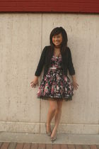 black Forever 21 jacket - pink cutesy girl dress - silver H&M necklace - black H