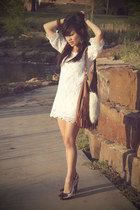 white Zara heels - white crochet H&M dress - brown fringe H&M purse