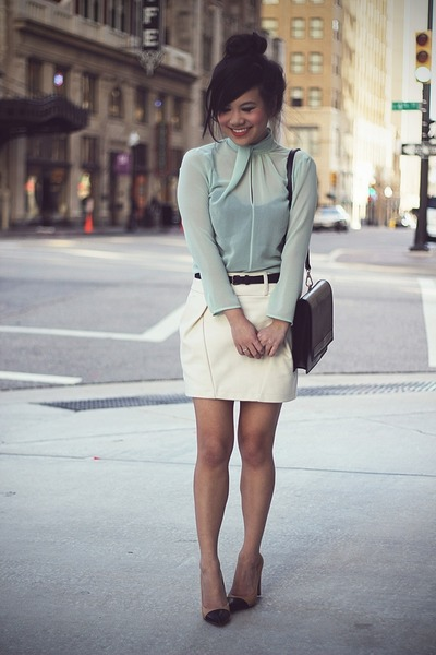 aquamarine Zara blouse - black Zara bag - ivory united colors of benetton skirt
