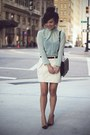 Black-zara-bag-aquamarine-zara-blouse-ivory-united-colors-of-benetton-skirt